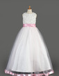 A-Line/Princess Floor-length Flower Girl Dress - Organza/Charmeuse Sleeveless Scoop Neck With Sash/Beading/Sequins (010014638)
