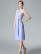 Empire One-Shoulder Knee-Length Chiffon Bridesmaid Dress With Cascading Ruffles (007004081)