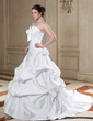 Ball-Gown Scalloped Neck Chapel Train Satin Wedding Dress With Ruffle Bow(s) (002000659)