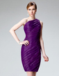 Sheath/Column One-Shoulder Knee-Length Organza Cocktail Dress With Ruffle (016002971)