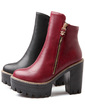 Leatherette Chunky Heel Platform Ankle Boots With Zipper shoes (088054394)