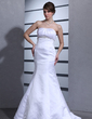 Trumpet/Mermaid Sweetheart Court Train Satin Wedding Dress With Ruffle Beading (002000458)
