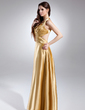 A-Line/Princess V-neck Ankle-Length Charmeuse Bridesmaid Dress With Ruffle Beading (007015662)