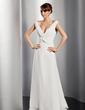 A-Line/Princess V-neck Floor-Length Chiffon Evening Dress With Ruffle (017014811)