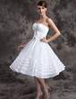 A-Line/Princess Sweetheart Knee-Length Organza Wedding Dress With Ruffle Flower(s) (002014974)