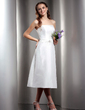 A-Line/Princess Strapless Tea-Length Taffeta Bridesmaid Dress With Ruffle Beading (007001078)