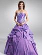 Duchesse-Linie Trägerlos Bodenlang Taft Quinceañera Kleid (Kleid für die Geburtstagsfeier) mit Rüschen Perlen verziert Applikationen Spitze Pailletten (021003123)