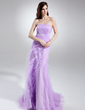 Trumpet/Mermaid Sweetheart Court Train Tulle Prom Dress With Cascading Ruffles (018015711)