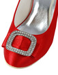 Women's Satin Wedge Heel Closed Toe Pumps Wedges With Bowknot Rhinestone (047029888)
