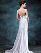 Trumpet/Mermaid Scoop Neck Sweep Train Chiffon Charmeuse Wedding Dress With Ruffle (002012670)