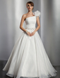 Ball-Gown One-Shoulder Floor-Length Organza Wedding Dress With Ruffle Beading Flower(s) Sequins (002014776)
