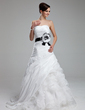A-Line/Princess Sweetheart Court Train Organza Wedding Dress With Sash Flower(s) Cascading Ruffles (002012592)