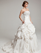 Ball-Gown Strapless Chapel Train Taffeta Wedding Dress With Ruffle Lace Beading (002017561)