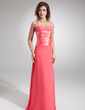 Sheath/Column Sweetheart Floor-Length Chiffon Bridesmaid Dress With Ruffle Bow(s) (007001731)