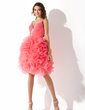 A-Line/Princess V-neck Knee-Length Organza Homecoming Dress With Beading Sequins Cascading Ruffles (022008963)