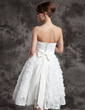 A-Line/Princess Sweetheart Knee-Length Satin Wedding Dress With Ruffle Flower(s) Sequins Bow(s) (002015015)