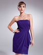 Sheath/Column Strapless Short/Mini Chiffon Homecoming Dress With Cascading Ruffles (022010569)