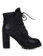 Leatherette Chunky Heel Ankle Boots With Lace-up shoes (088056365)