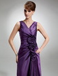 Sheath/Column V-neck Floor-Length Taffeta Mother of the Bride Dress With Ruffle Flower(s) (008006196)