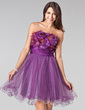 A-Line/Princess Strapless Short/Mini Tulle Homecoming Dress With Ruffle Beading Flower(s) (022004444)