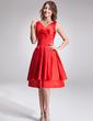 A-Line/Princess V-neck Knee-Length Satin Chiffon Bridesmaid Dress With Ruffle (007022523)