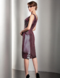 Sheath/Column V-neck Knee-Length Taffeta Mother of the Bride Dress With Cascading Ruffles (008014548)