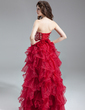 A-Line/Princess Strapless Asymmetrical Organza Prom Dress With Beading Cascading Ruffles (018016262)