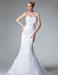 Trumpet/Mermaid Sweetheart Sweep Train Tulle Wedding Dress With Lace Beading (002000438)