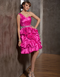 A-Line/Princess One-Shoulder Knee-Length Taffeta Homecoming Dress With Beading Cascading Ruffles (022014856)