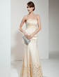 Trumpet/Mermaid Strapless Floor-Length Satin Mother of the Bride Dress With Lace (008017398)