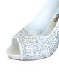 Women's Satin Stiletto Heel Peep Toe Platform Pumps Sandals With Rhinestone (047057117)
