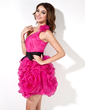 Sheath/Column One-Shoulder Short/Mini Organza Homecoming Dress With Sash Flower(s) Cascading Ruffles (022017383)