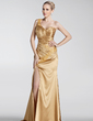 A-Line/Princess One-Shoulder Sweep Train Charmeuse Holiday Dress With Ruffle Beading Appliques Lace Split Front (020026006)