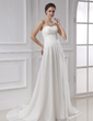 A-Line/Princess Sweetheart Chapel Train Chiffon Wedding Dress With Ruffle (002015479)