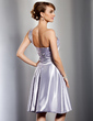 A-Line/Princess One-Shoulder Knee-Length Charmeuse Bridesmaid Dress With Ruffle (022014764)