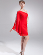 Sheath/Column One-Shoulder Short/Mini Chiffon Cocktail Dress With Beading (016008327)