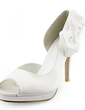 Women's Satin Cone Heel Peep Toe Platform Sandals With Satin Flower (047005728)