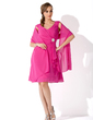A-Line/Princess V-neck Knee-Length Chiffon Mother of the Bride Dress With Crystal Brooch Cascading Ruffles (008006079)