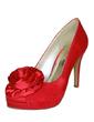 Kadın Satin İnce Topuk Kapalı Toe Platform Pompalar Ile Saten Çiçek (047057122)