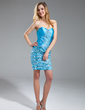 Sheath/Column Sweetheart Short/Mini Charmeuse Cocktail Dress With Ruffle Beading (016019164)