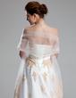 Imperialna Kochanie Tren Dworski Satin Tulle Suknia Ślubna Z Naszywki Kryształowa Broszka (002011662)