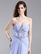 A-Line/Princess Sweetheart Sweep Train Chiffon Prom Dress With Ruffle Beading Split Front (018015903)