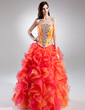 Ball-Gown Strapless Floor-Length Organza Prom Dress With Beading Cascading Ruffles (018015698)