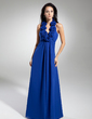 A-Line/Princess Halter Floor-Length Chiffon Prom Dress With Flower(s) (018014864)