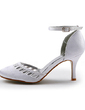 Women's Satin Stiletto Heel Closed Toe Pumps With Buckle Rhinestone (047005116)