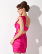 Sheath/Column One-Shoulder Short/Mini Charmeuse Cocktail Dress With Ruffle Beading (016005835)