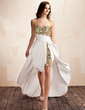 A-Line/Princess Sweetheart Asymmetrical Taffeta Prom Dress With Beading Sequins Cascading Ruffles (018019151)