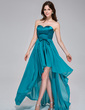 A-Line/Princess Sweetheart Asymmetrical Chiffon Charmeuse Holiday Dress With Ruffle Bow(s) (020037389)