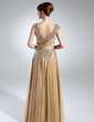 A-Line/Princess V-neck Floor-Length Charmeuse Mother of the Bride Dress With Ruffle Beading (008016031)