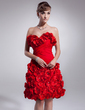 Sheath/Column Sweetheart Knee-Length Chiffon Homecoming Dress With Ruffle Beading Flower(s) (022009224)